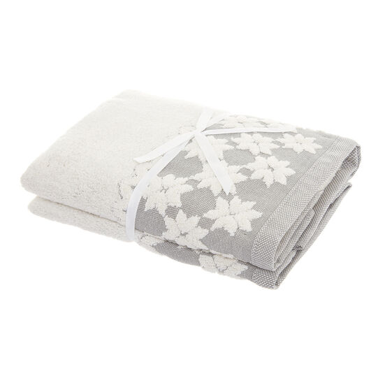 Set of 2 towels with snowflakes motif