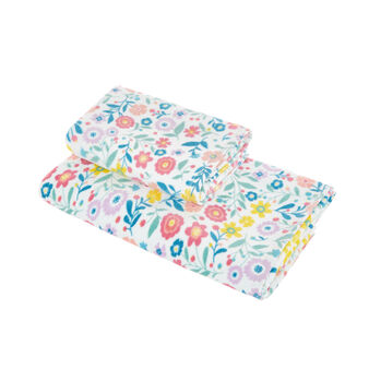 Cotton velour towel with flowers print