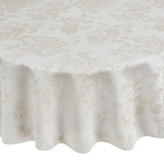 Oval tablecloth and napkins set in 100% cotton with jacquard weave