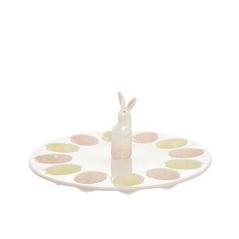 Ceramic rabbit egg holder dish