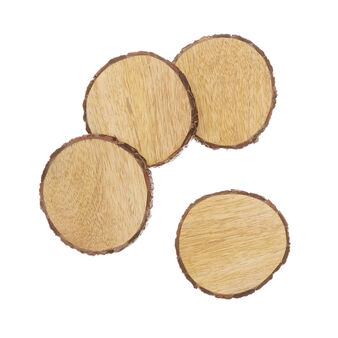 Set of 4 mango wood drinks coasters