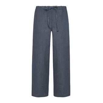 Pantalone ampio in puro lino tinta unita