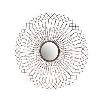 Round mirror in iron wire