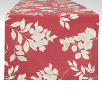 100% cotton table runner with foliage print