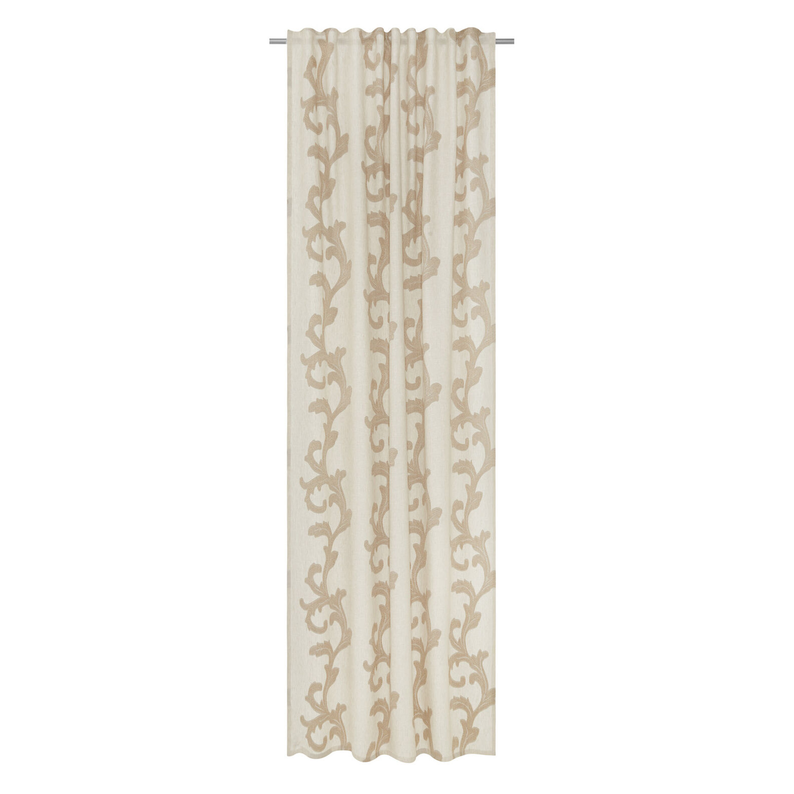 Jacquard linen blend curtain with hidden loops