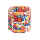 Basket in cotton twill with house print