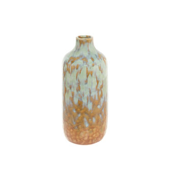 Ceramic bottle vase with reactive glazes