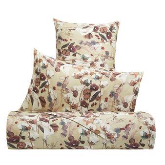 Cotton percale duvet cover set with cotton flower pattern