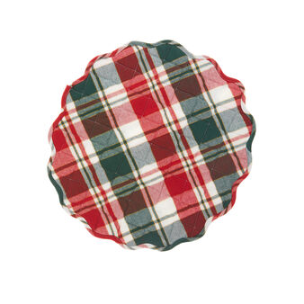 Quilted tartan table mat in cotton twill with lurex yarn