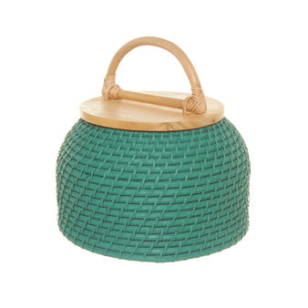 Lombok pot in coloured rattan and wood