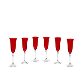 Set of 6 flutes in red glass