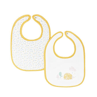 Set of 2 100% cotton bibs with hedgehogs and small triangles