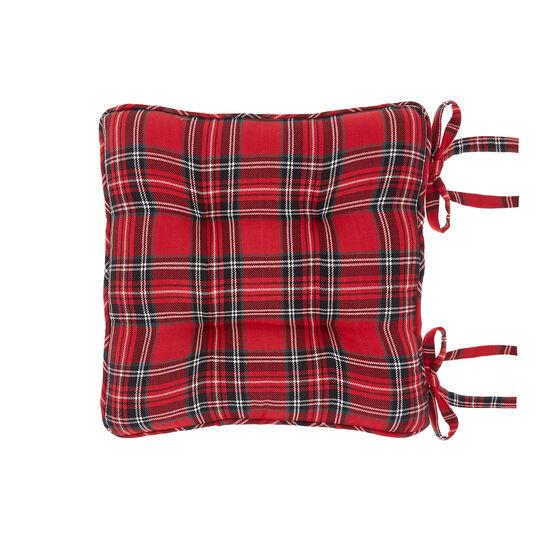 Cotton twill seat pad with tartan motif