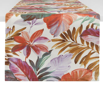 100% cotton table runner with leaf print