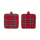 2-pack pot holders in cotton twill with tartan motif