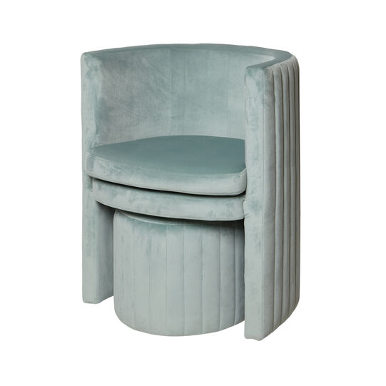 Round armchair and stool set