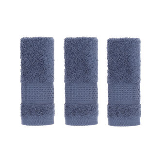 Set of 3 solid colour face cloths in 100% cotton