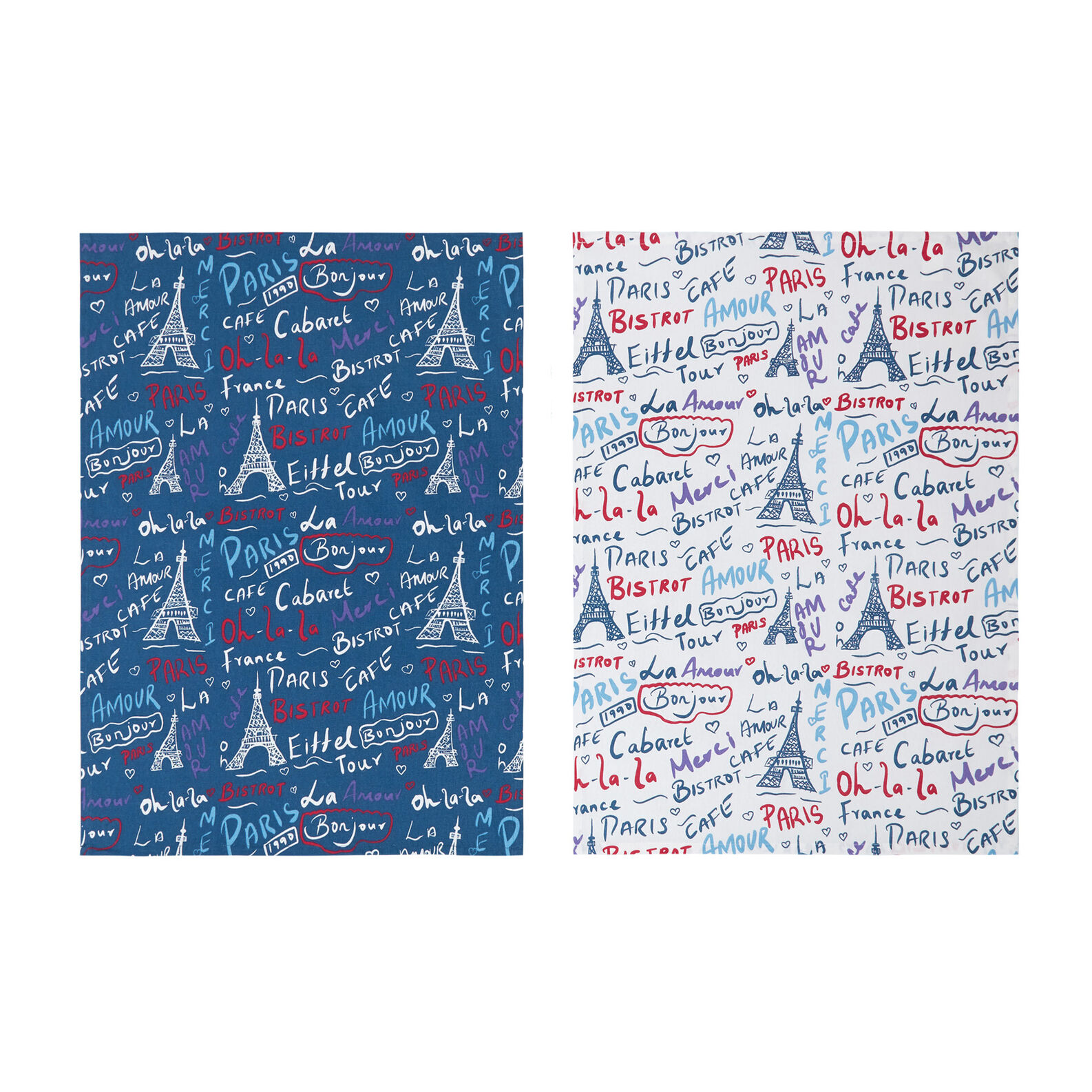 3-pack tea towels in 100% cotton with Paris print