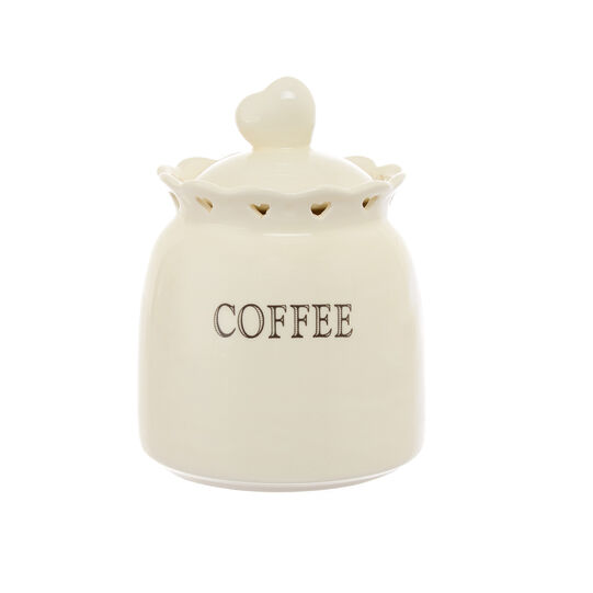Ceramic coffee jar with openwork hearts