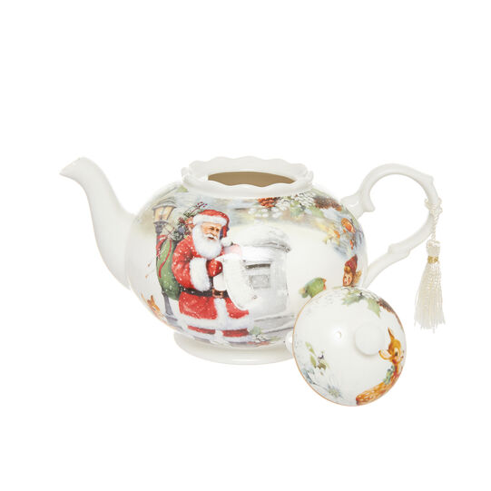 Porcelain teapot with vintage motif