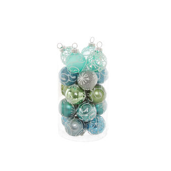 Set of 20 hand-decorated baubles