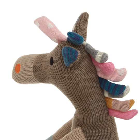 Donkey soft toy in knitted cotton