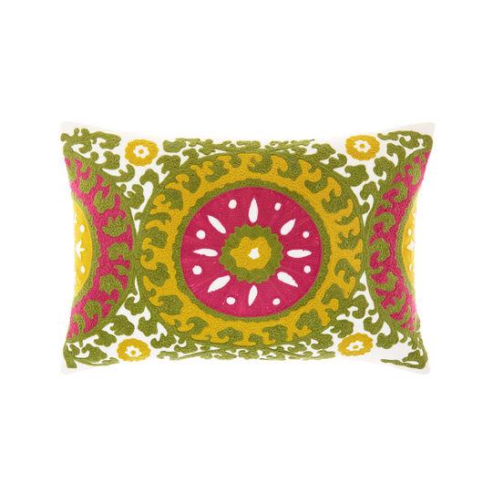 Cuscino rettangolare ricamo chain stitch a rilievo