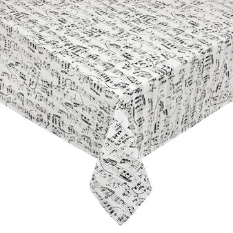 100% cotton tablecloth with musical notes print
