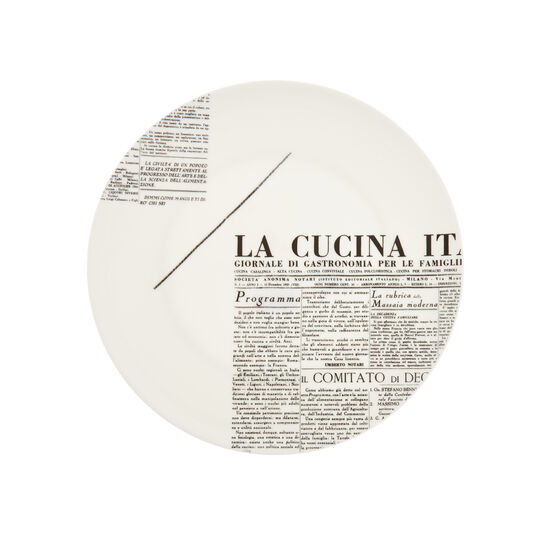 Piatto piano fine bone china decoro geometric La Cucina Italiana