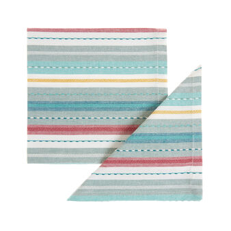 Two-pack napkins in 100% cotton with striped embroidery