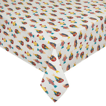 100% cotton water-repellent tablecloth with fish print