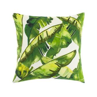 Cuscino cotone stampa e ricami foglie