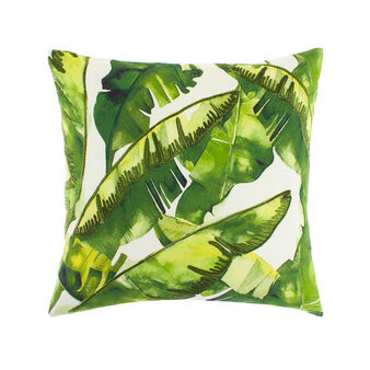 Cotton cushion with print and leaf embroidery