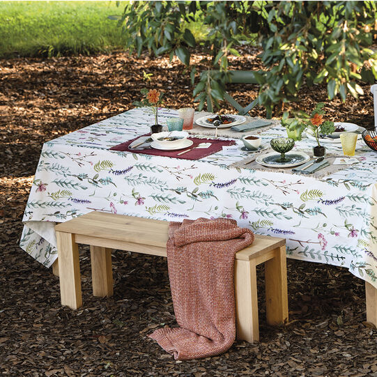 100% cotton tablecloth with botanical print