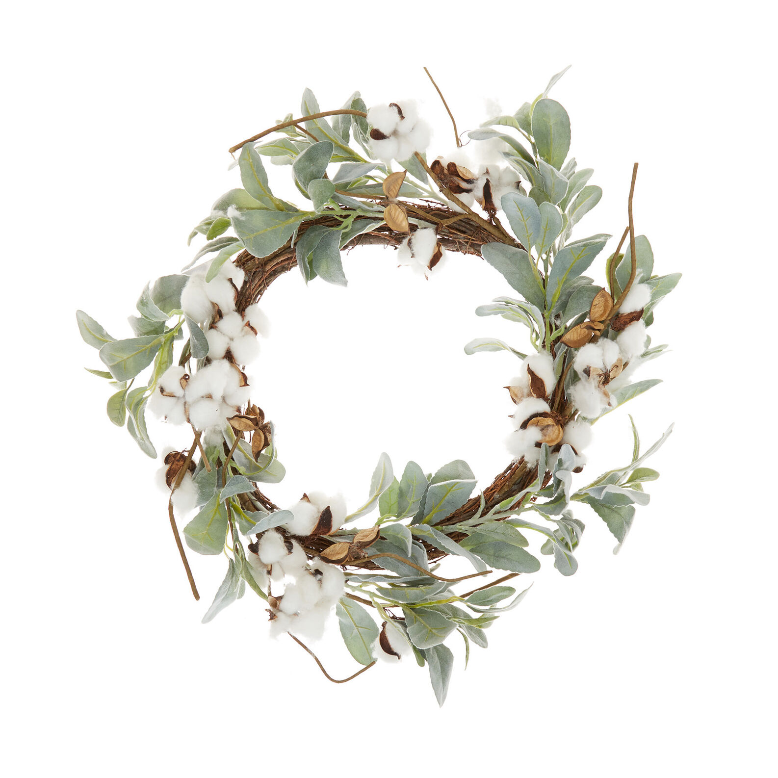 Decorative wreath with cotton flowers