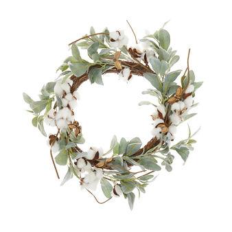 Corona decorativa fiori di cotone
