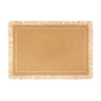 100% cotton table mat with embroidery and fringing