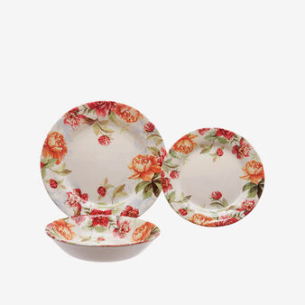 Set of 18 ceramic plates with flower decoration