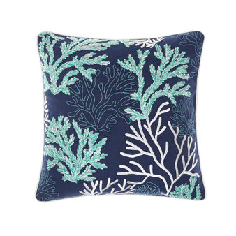 Cotton cushion with corals embroidery 45x45cm