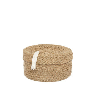 Hand-woven straw box with tassel
