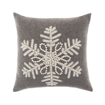 Cushion with embroidered snowflakes motif 45x45cm