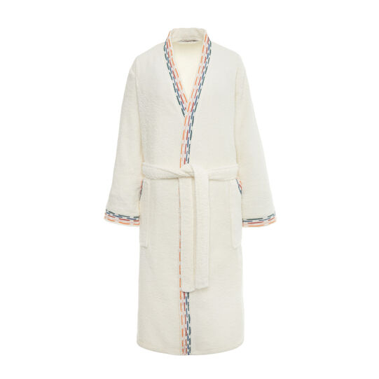 Cotton terry bathrobe with embroidered edging