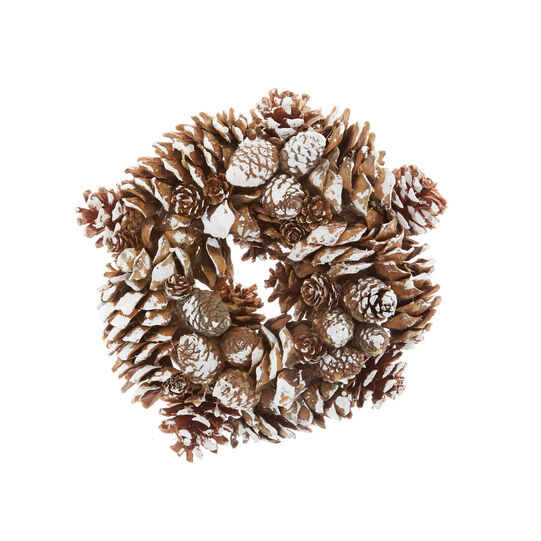 Corona decorativa pigne innevate