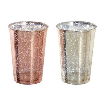 Bicchiere vetro effetto anticato