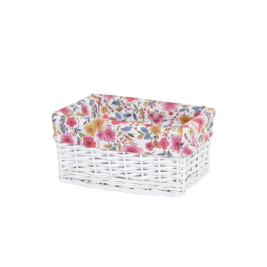 Basket in wood and floral fabric