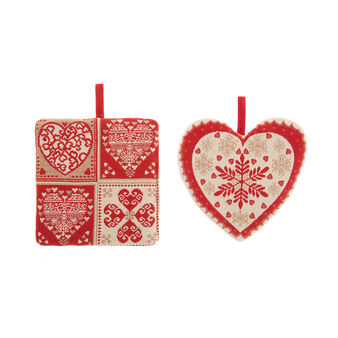 2-pack pot holders in gobelin with hearts motif