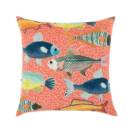 Cushion with marine embroidery and print