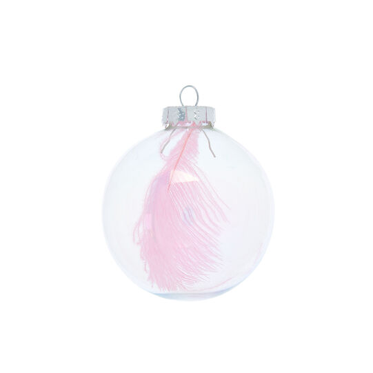 Hand-decorated bauble with feather D15cm