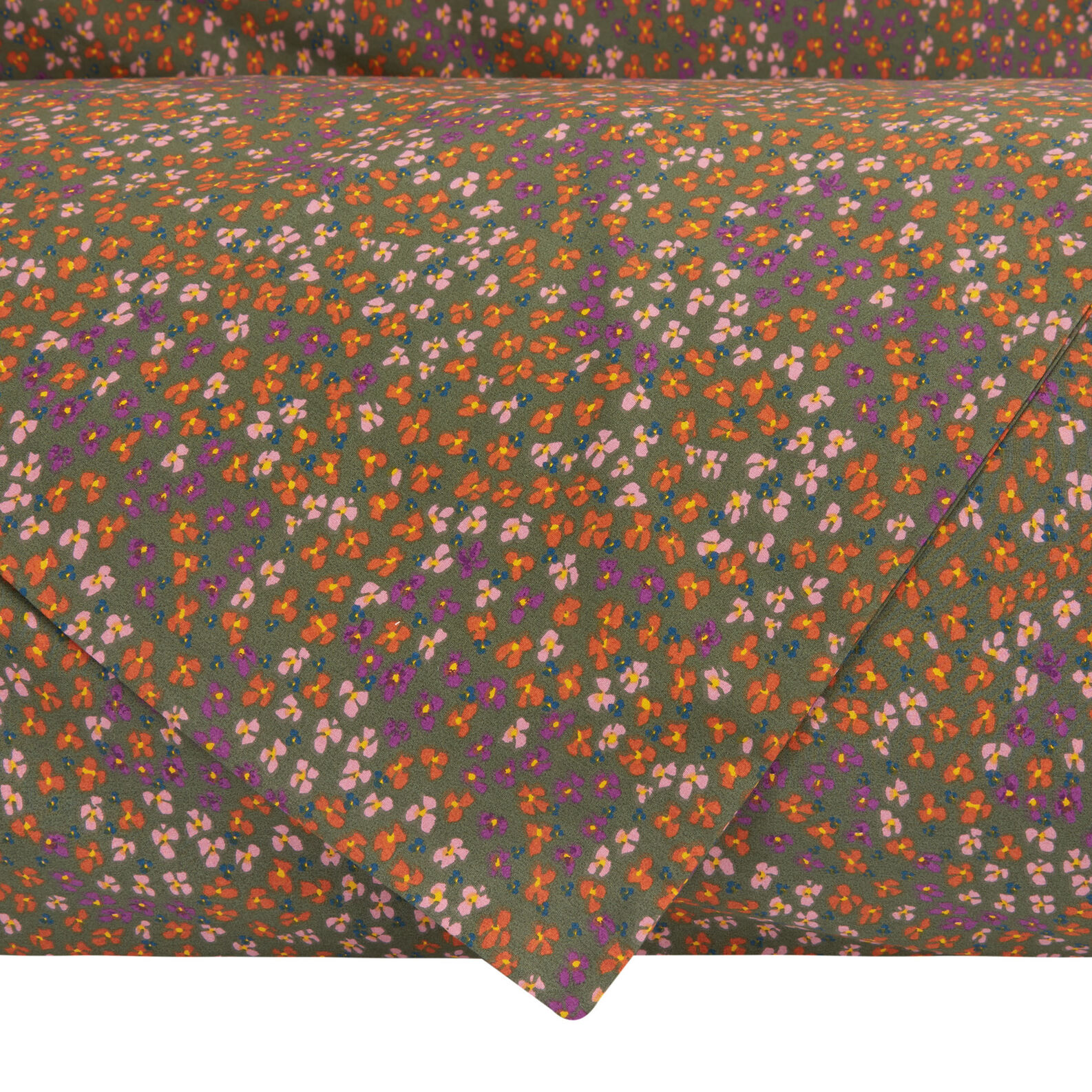 Duvet cover set in cotton percale with small flowers pattern