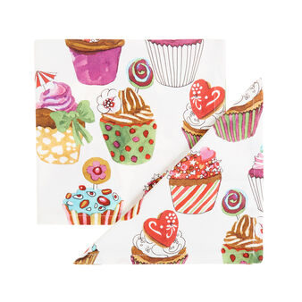 Two-pack cotton twill napkins with cupcakes print by Sandra Jacobs design